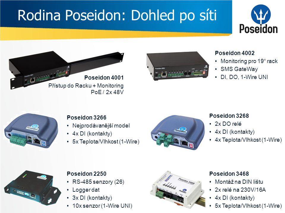 """Rodina Poseidon: Dohled po síti Poseidon 4001 Přístup do Racku + Monitoring PoE / 2x 48V Poseidon 4002 •Monitoring pro 19"""" rack •SMS GateWay •DI, DO,"""