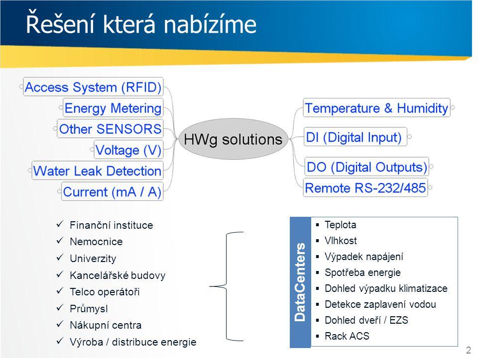 2 Řešení která nabízíme DataCenters  Teplota  Vlhkost  Výpadek napájení  Spotřeba energie  Dohled výpadku klimatizace  Detekce zaplavení vodou 