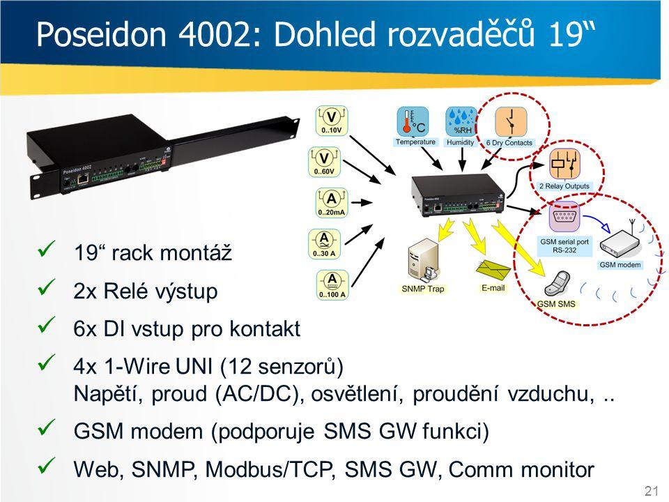"""21 Poseidon 4002: Dohled rozvaděčů 19""""  19"""" rack montáž  2x Relé výstup  6x DI vstup pro kontakt  4x 1-Wire UNI (12 senzorů) Napětí, proud (AC/DC)"""