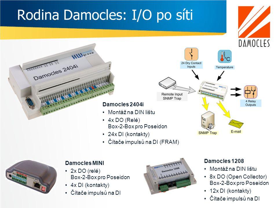 Rodina Damocles: I/O po síti Damocles 2404i •Montáž na DIN lištu •4x DO (Relé) Box-2-Box pro Poseidon •24x DI (kontakty) •Čítače impulsů na DI (FRAM)