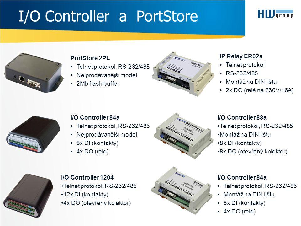 I/O Controller a PortStore IP Relay ER02a •Telnet protokol •RS-232/485 •Montáž na DIN lištu •2x DO (relé na 230V/16A) I/O Controller 84a •Telnet proto