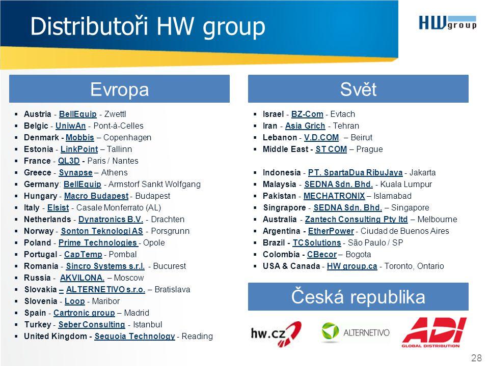 Distributoři HW group 28  Austria - BellEquip - ZwettlBellEquip  Belgic - UniwAn - Pont-à-CellesUniwAn  Denmark - Mobbis – CopenhagenMobbis  Eston