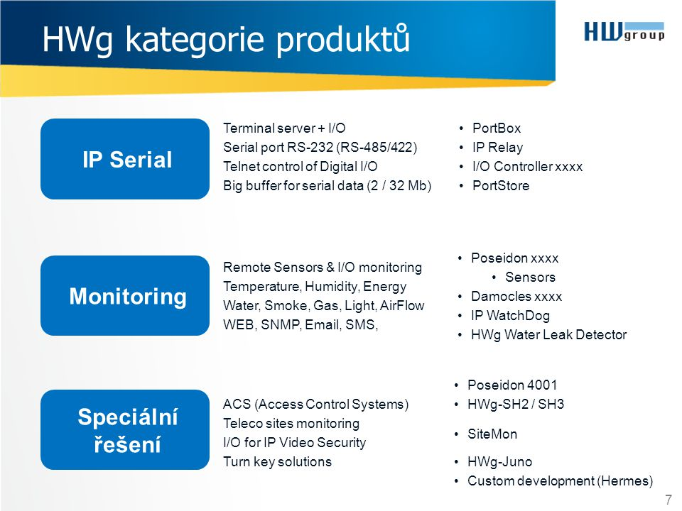 HWg kategorie produktů 7 IP Serial Monitoring Speciální řešení •Poseidon 4001 •HWg-SH2 / SH3 •SiteMon •HWg-Juno •Custom development (Hermes) •Poseidon xxxx •Sensors •Damocles xxxx •IP WatchDog •HWg Water Leak Detector •PortBox •IP Relay •I/O Controller xxxx •PortStore Terminal server + I/O Serial port RS-232 (RS-485/422) Telnet control of Digital I/O Big buffer for serial data (2 / 32 Mb) Remote Sensors & I/O monitoring Temperature, Humidity, Energy Water, Smoke, Gas, Light, AirFlow WEB, SNMP, Email, SMS, ACS (Access Control Systems) Teleco sites monitoring I/O for IP Video Security Turn key solutions