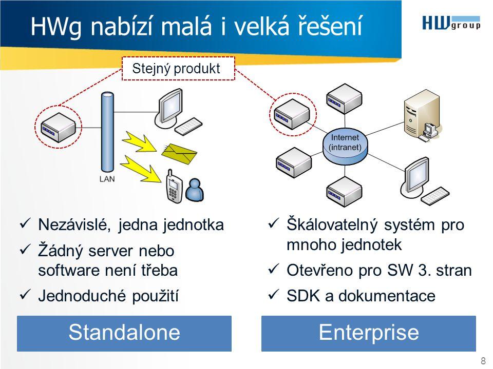 HWg nabízí malá i velká řešení 8  Nezávislé, jedna jednotka  Žádný server nebo software není třeba  Jednoduché použití Standalone  Škálovatelný sy