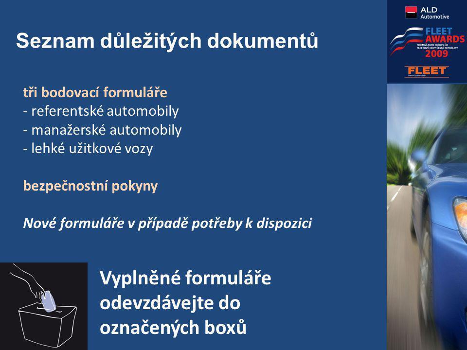 Seznam důležitých dokumentů tři bodovací formuláře - referentské automobily - manažerské automobily - lehké užitkové vozy bezpečnostní pokyny Nové formuláře v případě potřeby k dispozici Vyplněné formuláře odevzdávejte do označených boxů