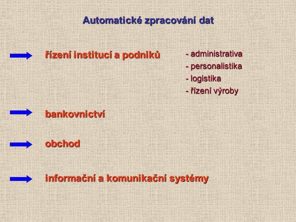 Automatické zpracování dat řízení institucí a podniků bankovnictví obchod informační a komunikační systémy -administrativa -personalistika -logistika -řízení výroby