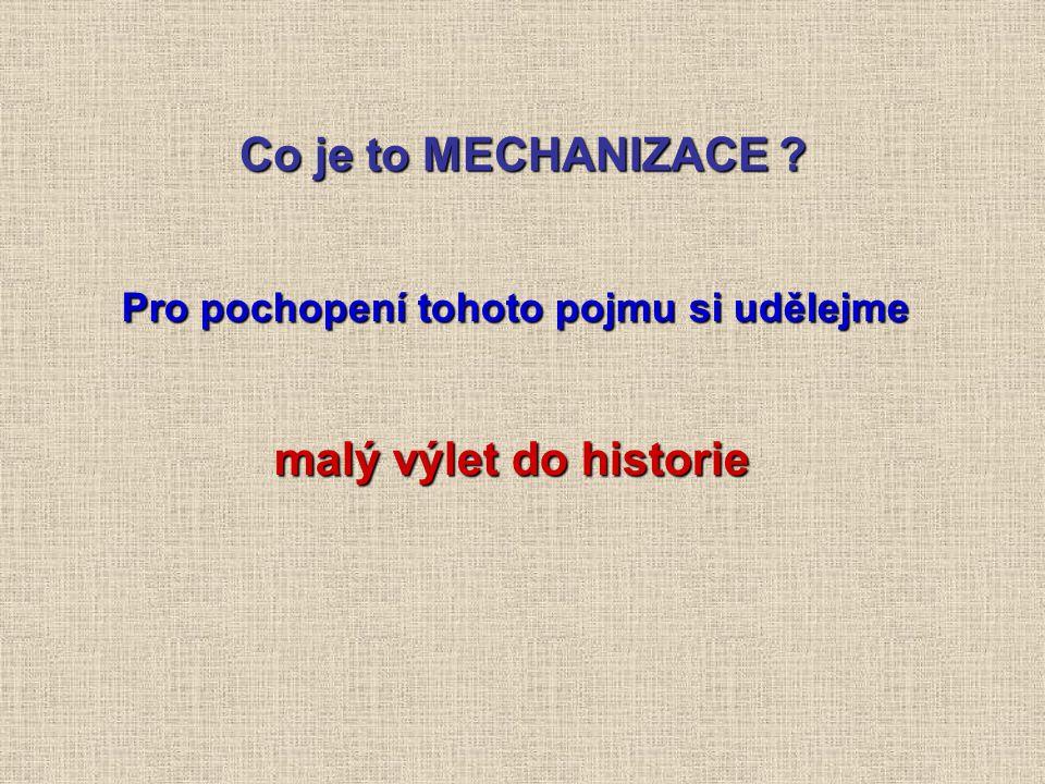 Co je to MECHANIZACE Pro pochopení tohoto pojmu si udělejme malý výlet do historie