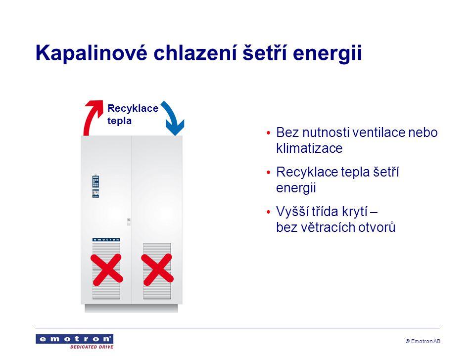 © Emotron AB Kapalinové chlazení šetří energii • Bez nutnosti ventilace nebo klimatizace • Recyklace tepla šetří energii • Vyšší třída krytí – bez větracích otvorů Recyklace tepla