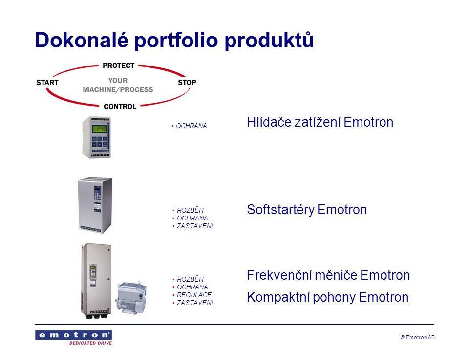 © Emotron AB Dokonalé portfolio produktů • OCHRANA • ROZBĚH • OCHRANA • ZASTAVENÍ • ROZBĚH • OCHRANA • REGULACE • ZASTAVENÍ Hlídače zatížení Emotron Softstartéry Emotron Frekvenční měniče Emotron Kompaktní pohony Emotron