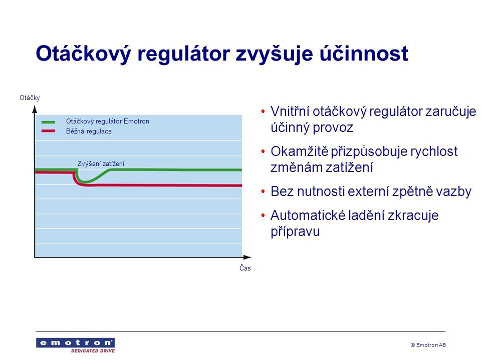 © Emotron AB Otáčkový regulátor zvyšuje účinnost •Vnitřní otáčkový regulátor zaručuje účinný provoz •Okamžitě přizpůsobuje rychlost změnám zatížení •Bez nutnosti externí zpětně vazby •Automatické ladění zkracuje přípravu Otáčky Otáčkový regulátor Emotron Běžná regulace Zvýšení zatížení Čas