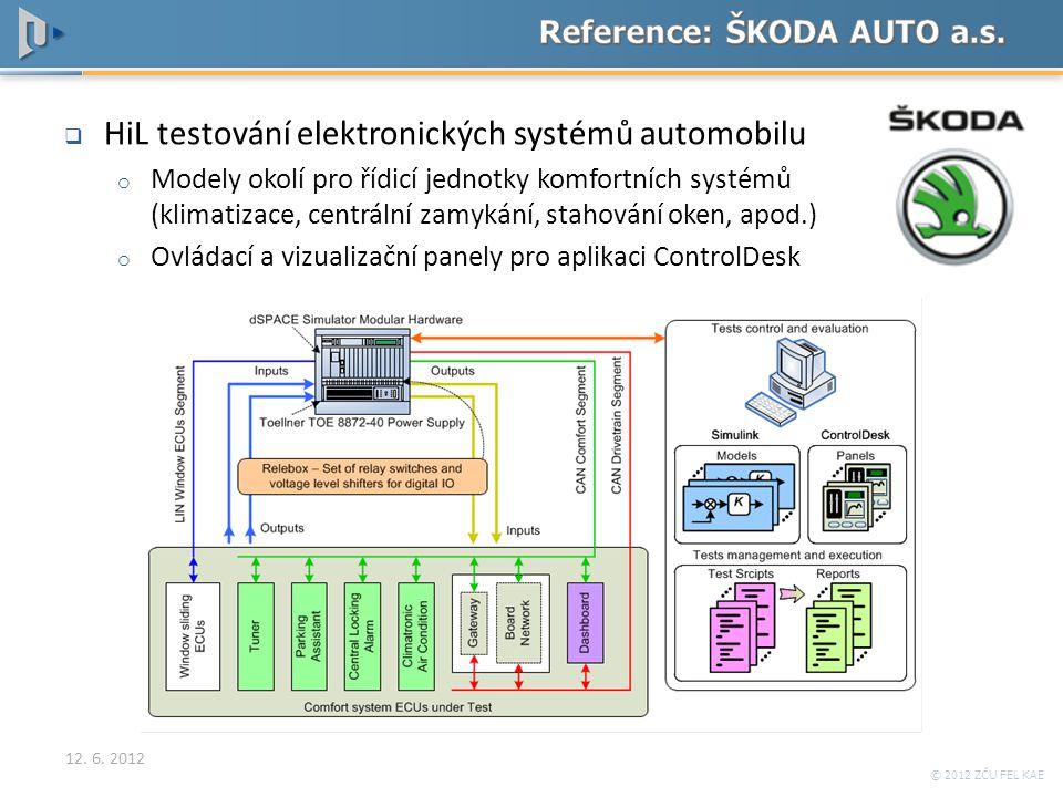 © 2012 ZČU FEL KAE  HiL testování elektronických systémů automobilu o Modely okolí pro řídicí jednotky komfortních systémů (klimatizace, centrální za
