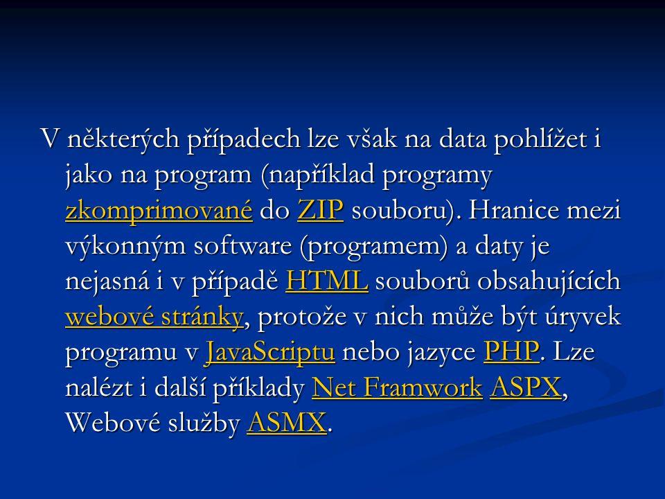 V některých případech lze však na data pohlížet i jako na program (například programy zkomprimované do ZIP souboru). Hranice mezi výkonným software (p