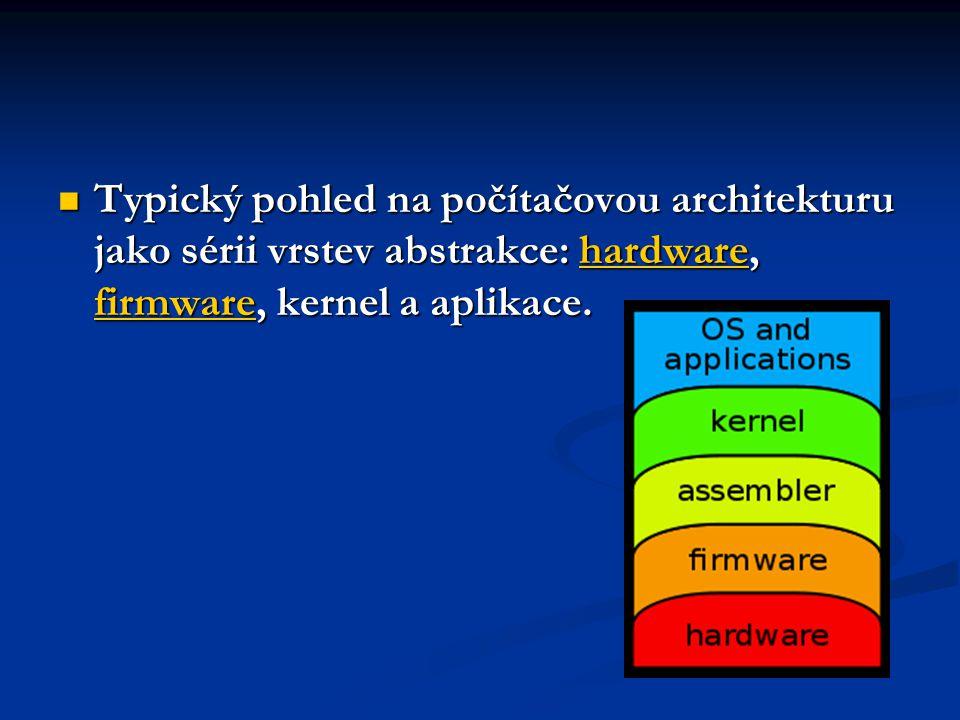  Typický pohled na počítačovou architekturu jako sérii vrstev abstrakce: hardware, firmware, kernel a aplikace. hardware firmwarehardware firmware