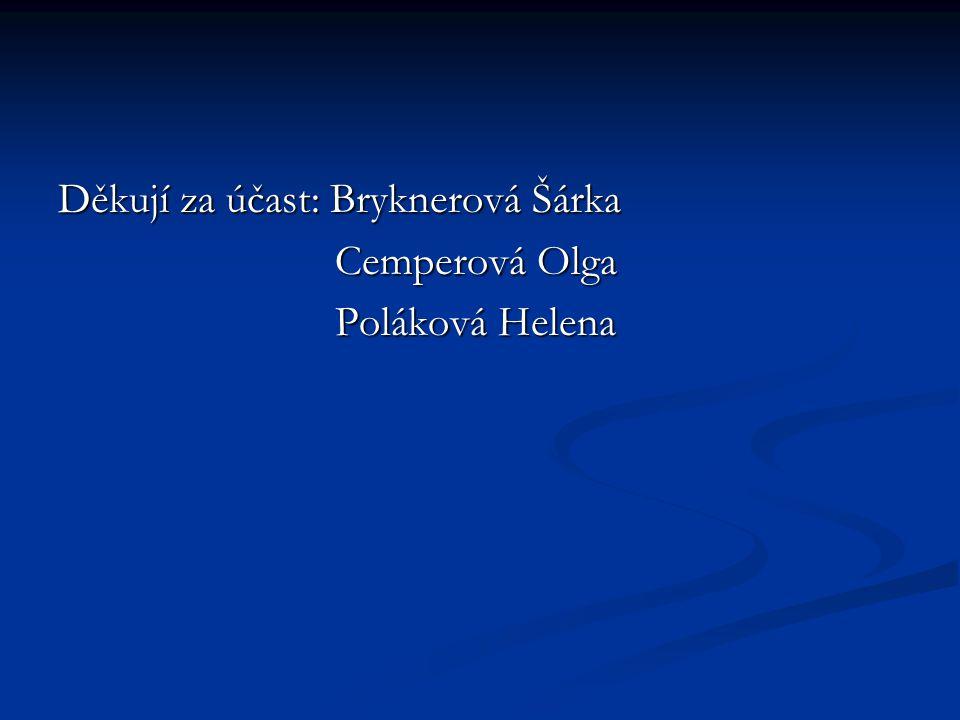 Děkují za účast: Bryknerová Šárka Cemperová Olga Cemperová Olga Poláková Helena Poláková Helena