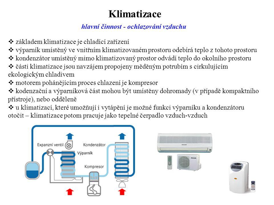 Klimatizace hlavní činnost - ochlazování vzduchu  základem klimatizace je chladící zařízení  výparník umístěný ve vnitřním klimatizovaném prostoru o