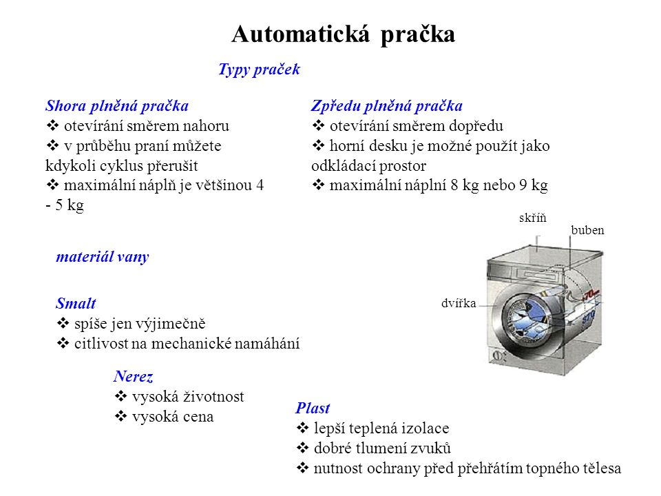 Typy praček Automatická pračka Shora plněná pračka  otevírání směrem nahoru  v průběhu praní můžete kdykoli cyklus přerušit  maximální náplň je vět