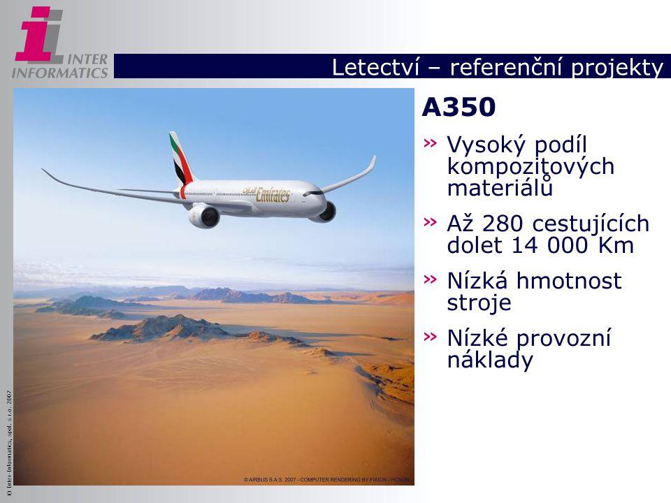 © Inter-Informatics, spol. s r.o. 2007 Letectví – referenční projekty A350 » Vysoký podíl kompozitových materiálů » Až 280 cestujících dolet 14 000 Km