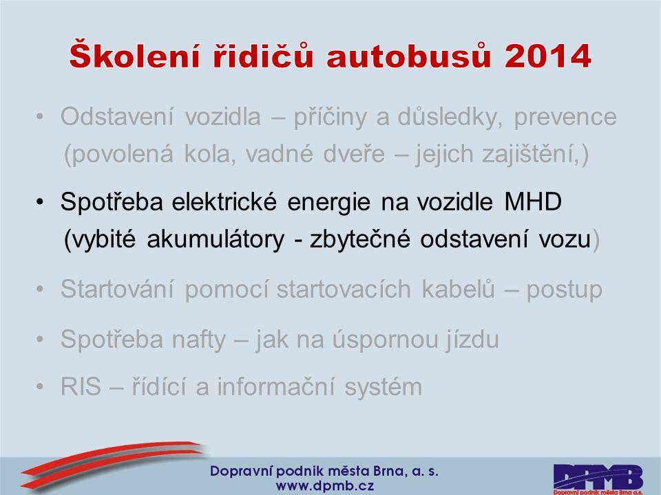 •Odstavení vozidla – příčiny a důsledky, prevence (povolená kola, vadné dveře – jejich zajištění,) •Spotřeba elektrické energie na vozidle MHD (vybité