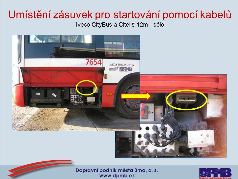 Umístění zásuvek pro startování pomocí kabelů Iveco CityBus a Citelis 12m - sólo