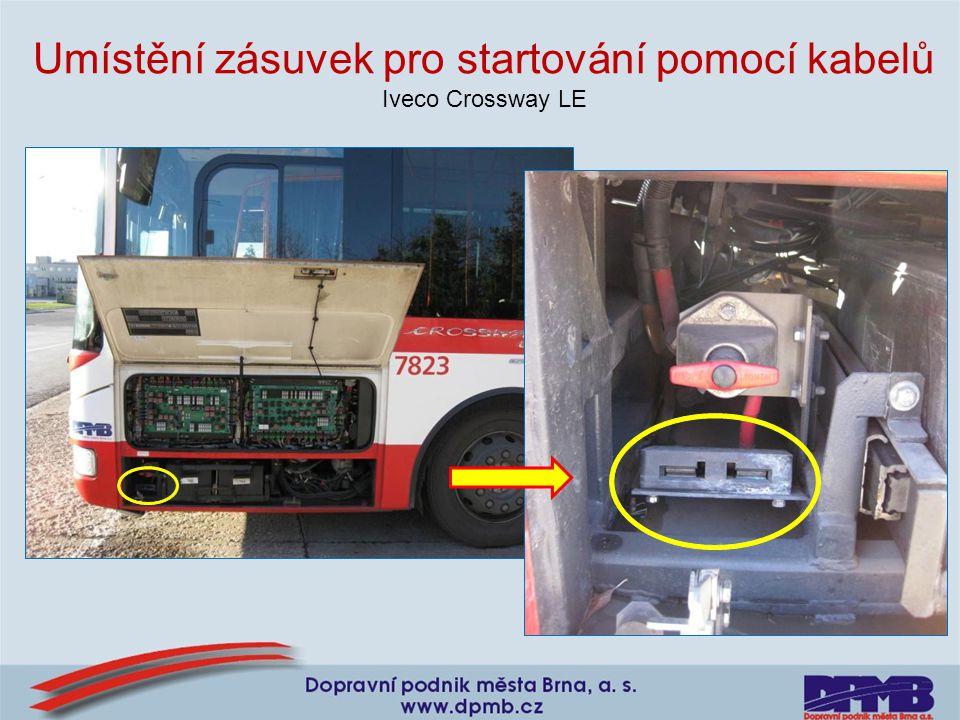 Umístění zásuvek pro startování pomocí kabelů Iveco Crossway LE