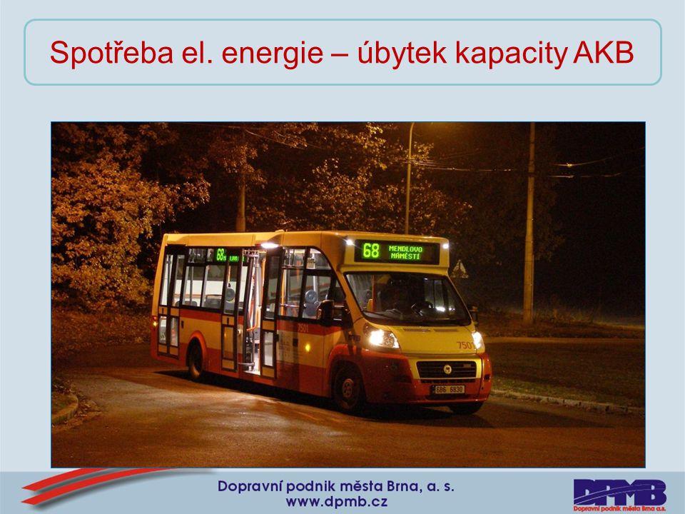Spotřeba el. energie – úbytek kapacity AKB