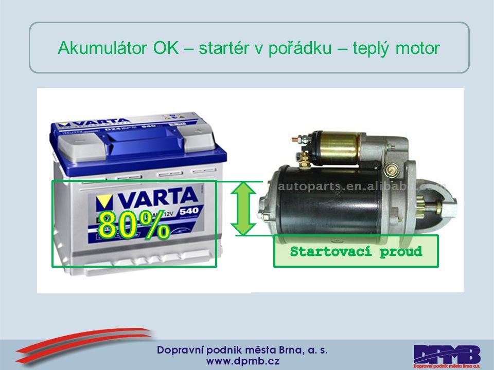Akumulátor OK – startér v pořádku – teplý motor