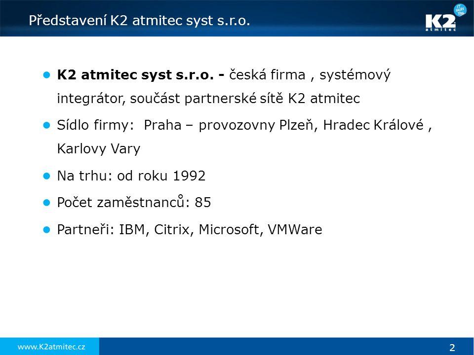 2 Představení K2 atmitec syst s.r.o. ● K2 atmitec syst s.r.o. - česká firma, systémový integrátor, součást partnerské sítě K2 atmitec ● Sídlo firmy: P