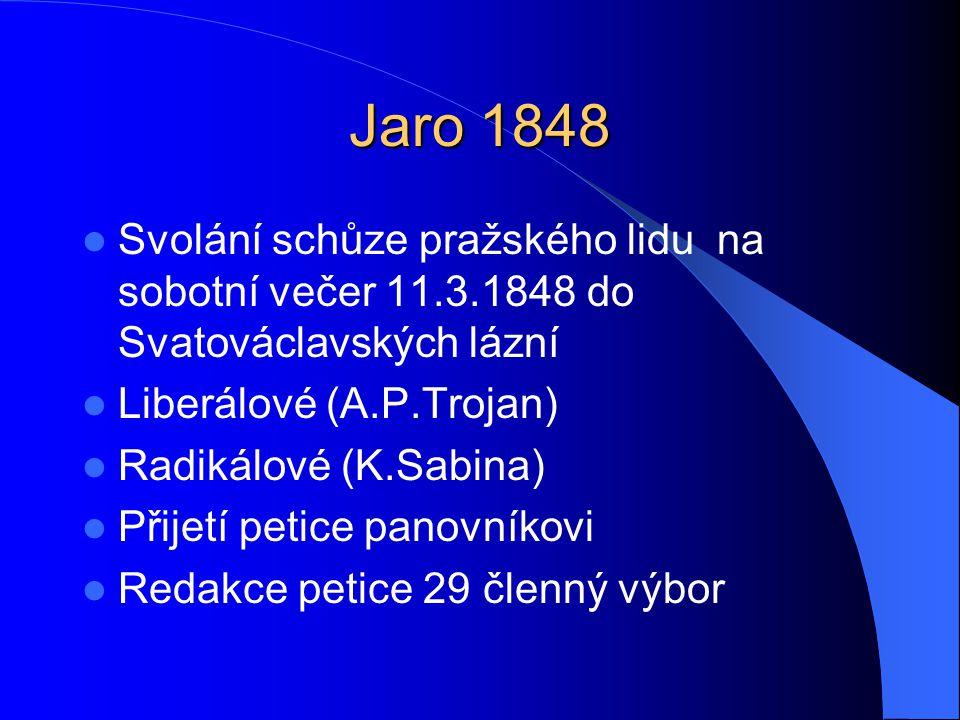 Jaro 1848  Svolání schůze pražského lidu na sobotní večer 11.3.1848 do Svatováclavských lázní  Liberálové (A.P.Trojan)  Radikálové (K.Sabina)  Při