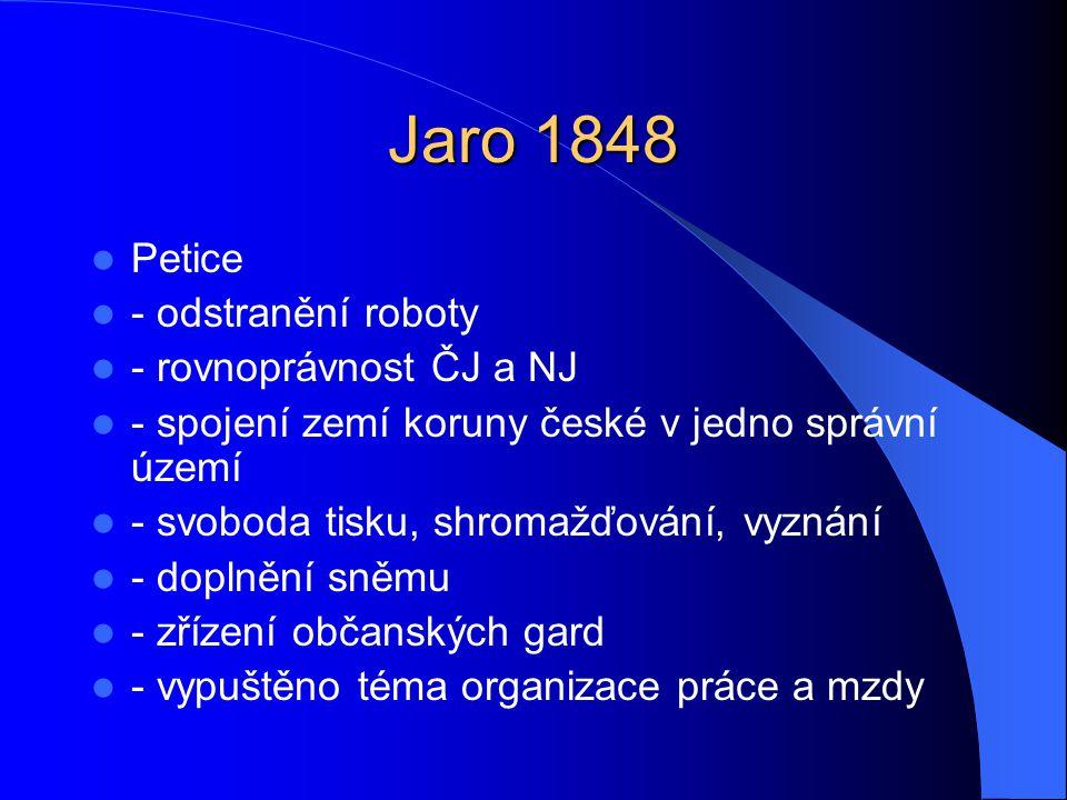 Jaro 1848  Petice  - odstranění roboty  - rovnoprávnost ČJ a NJ  - spojení zemí koruny české v jedno správní území  - svoboda tisku, shromažďován