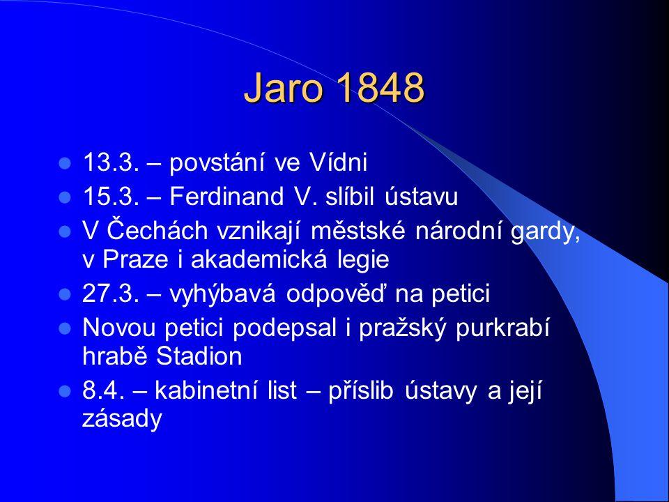 Jaro 1848  13.3. – povstání ve Vídni  15.3. – Ferdinand V. slíbil ústavu  V Čechách vznikají městské národní gardy, v Praze i akademická legie  27