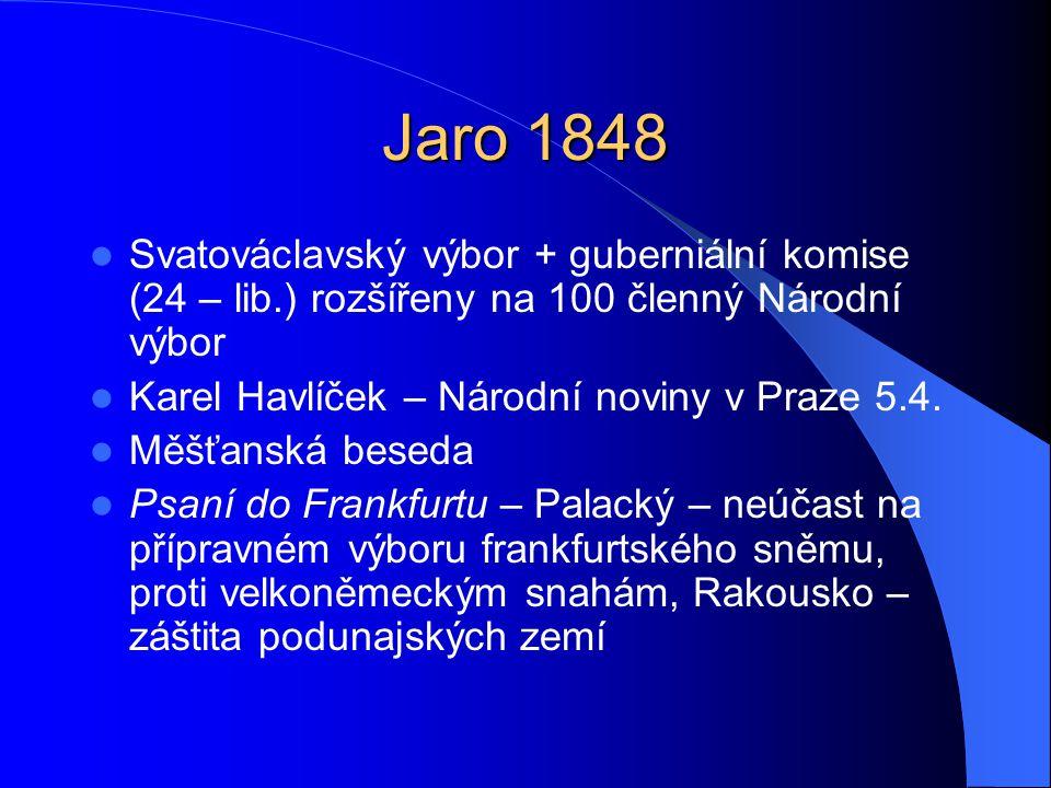 Jaro 1848  Svatováclavský výbor + guberniální komise (24 – lib.) rozšířeny na 100 členný Národní výbor  Karel Havlíček – Národní noviny v Praze 5.4.