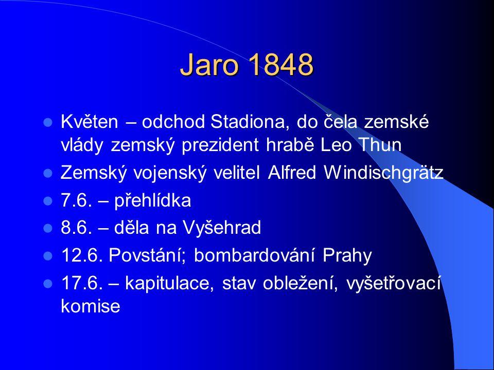 Jaro 1848  Květen – odchod Stadiona, do čela zemské vlády zemský prezident hrabě Leo Thun  Zemský vojenský velitel Alfred Windischgrätz  7.6. – pře