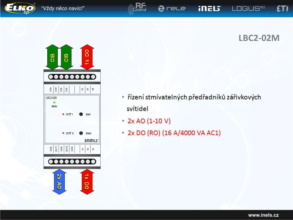 LBC2-02M řízení stmívatelných předřadníků zářivkových svítidel • řízení stmívatelných předřadníků zářivkových svítidel 2x AO (1-10 V) • 2x AO (1-10 V) 2x DO (RO) (16 A/4000 VA AC1) • 2x DO (RO) (16 A/4000 VA AC1) CIBCIB 2x AO 1x DO