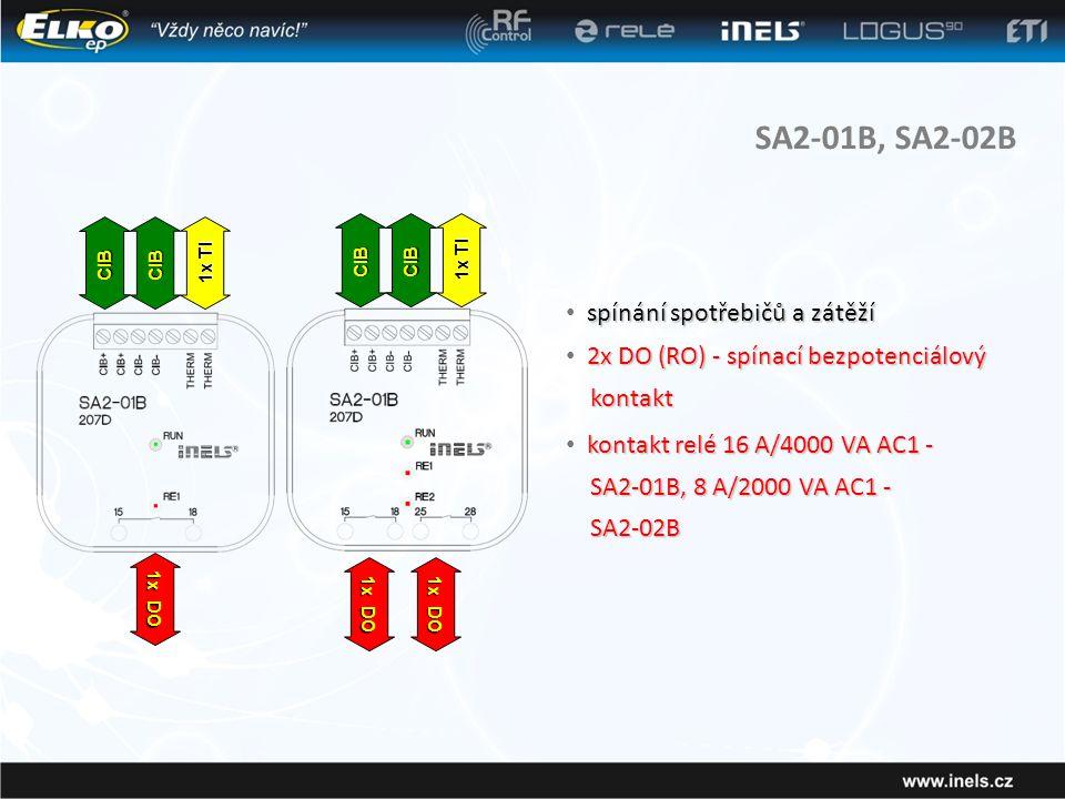SA2-01B, SA2-02B spínání spotřebičů a zátěží • spínání spotřebičů a zátěží 2x DO (RO) - spínací bezpotenciálový kontakt • 2x DO (RO) - spínací bezpotenciálový kontakt kontakt relé 16 A/4000 VA AC1 - • kontakt relé 16 A/4000 VA AC1 - SA2-01B, 8 A/2000 VA AC1 - SA2-01B, 8 A/2000 VA AC1 - SA2-02B SA2-02B CIBCIB 1x TI 1x DO CIBCIB 1x TI 1x DO
