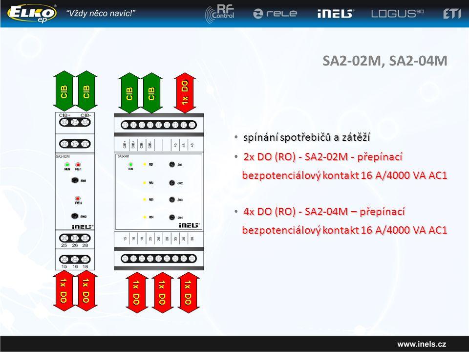 SA2-02M, SA2-04M spínání spotřebičů a zátěží • spínání spotřebičů a zátěží 2x DO (RO) - SA2-02M - přepínací • 2x DO (RO) - SA2-02M - přepínací bezpotenciálový kontakt 16 A/4000 VA AC1 bezpotenciálový kontakt 16 A/4000 VA AC1 CIBCIB 1x DO CIBCIB 4x DO (RO) - SA2-04M – přepínací bezpotenciálový kontakt 16 A/4000 VA AC1 • 4x DO (RO) - SA2-04M – přepínací bezpotenciálový kontakt 16 A/4000 VA AC1