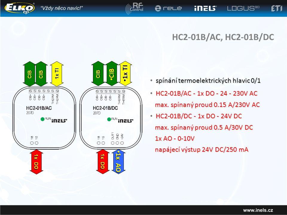 HC2-01B/AC, HC2-01B/DC spínání termoelektrických hlavic 0/1 • spínání termoelektrických hlavic 0/1 HC2-01B/AC - 1x DO - 24 - 230V AC • HC2-01B/AC - 1x