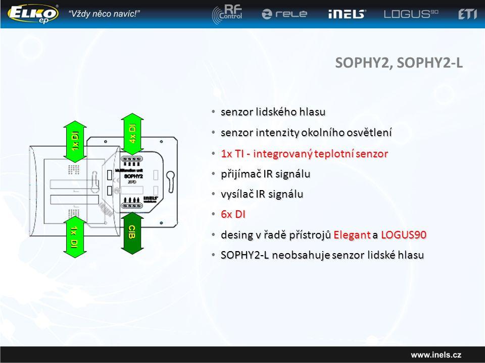SOPHY2, SOPHY2-L senzor lidského hlasu • senzor lidského hlasu senzor intenzity okolního osvětlení • senzor intenzity okolního osvětlení 1x TI - integrovaný teplotní senzor • 1x TI - integrovaný teplotní senzor desing v řadě přístrojů Elegant a LOGUS90 • desing v řadě přístrojů Elegant a LOGUS90 CIB 4x DI 1x DI přijímač IR signálu • přijímač IR signálu vysílač IR signálu • vysílač IR signálu 6x DI • 6x DI SOPHY2-L neobsahuje senzor lidské hlasu • SOPHY2-L neobsahuje senzor lidské hlasu