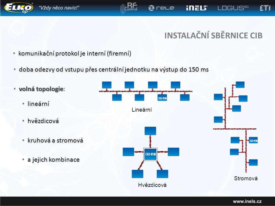 INSTALAČNÍ SBĚRNICE CIB komunikační protokol je interní (firemní) • komunikační protokol je interní (firemní) doba odezvy od vstupu přes centrální jednotku na výstup do 150 ms • doba odezvy od vstupu přes centrální jednotku na výstup do 150 ms volná topologie • volná topologie: lineární • lineární a jejich kombinace • a jejich kombinace hvězdicová • hvězdicová kruhová a stromová • kruhová a stromová Lineární Hvězdicová Stromová
