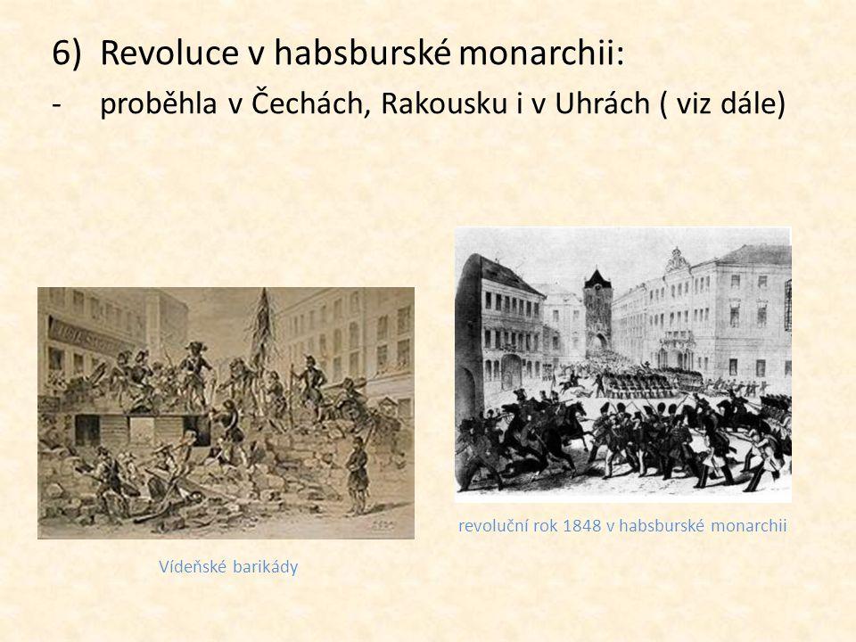 7)Výsledek revoluce: -nikde nebylo dokončeno sjednocení -revoluce byly potlačeny -u moci zůstala šlechta, ale neodvážila se nastolit tak přísné režimy, jaké byly před revolucí Metternich Alexander von Bach Evropská revoluce 1848-1849