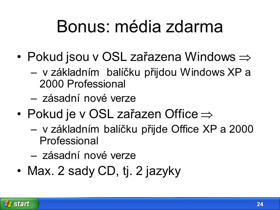23 Bonus: technická podpora Počet řešených případů na rok*) úroveňkompletní platforma1 nebo 2 komponenty A52 B104 C156 *) podpora jen pro Windows a Office Pro