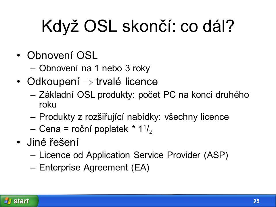 24 Bonus: média zdarma •Pokud jsou v OSL zařazena Windows  – v základním balíčku přijdou Windows XP a 2000 Professional – zásadní nové verze •Pokud je v OSL zařazen Office  – v základním balíčku přijde Office XP a 2000 Professional – zásadní nové verze •Max.