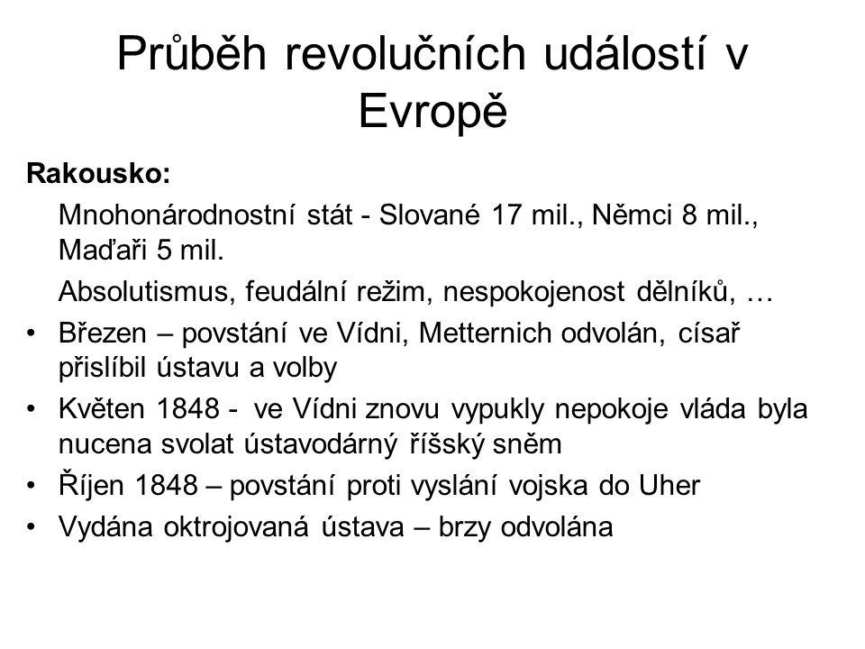Průběh revolučních událostí v Evropě Rakousko: Mnohonárodnostní stát - Slované 17 mil., Němci 8 mil., Maďaři 5 mil. Absolutismus, feudální režim, nesp