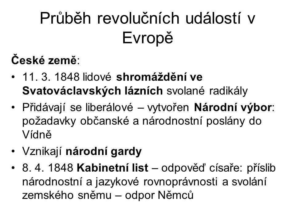 Průběh revolučních událostí v Evropě České země: •11. 3. 1848 lidové shromáždění ve Svatováclavských lázních svolané radikály •Přidávají se liberálové