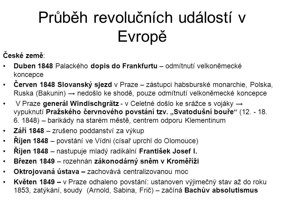 Průběh revolučních událostí v Evropě České země: •Duben 1848 Palackého dopis do Frankfurtu – odmítnutí velkoněmecké koncepce •Červen 1848 Slovanský sj