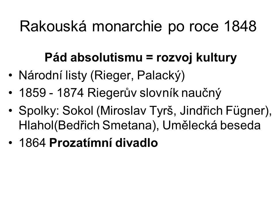 Rakouská monarchie po roce 1848 Pád absolutismu = rozvoj kultury •Národní listy (Rieger, Palacký) •1859 - 1874 Riegerův slovník naučný •Spolky: Sokol