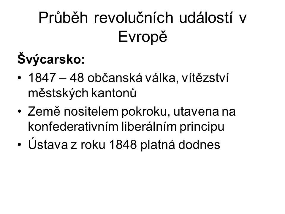 Průběh revolučních událostí v Evropě Švýcarsko: •1847 – 48 občanská válka, vítězství městských kantonů •Země nositelem pokroku, utavena na konfederati