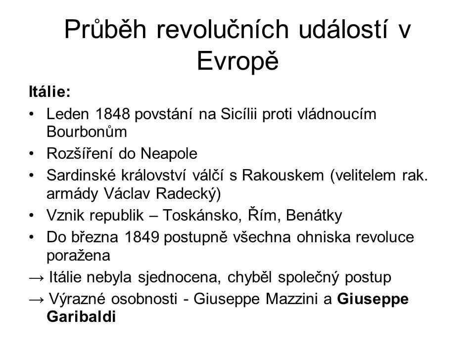 Průběh revolučních událostí v Evropě Itálie: •Leden 1848 povstání na Sicílii proti vládnoucím Bourbonům •Rozšíření do Neapole •Sardinské království vá
