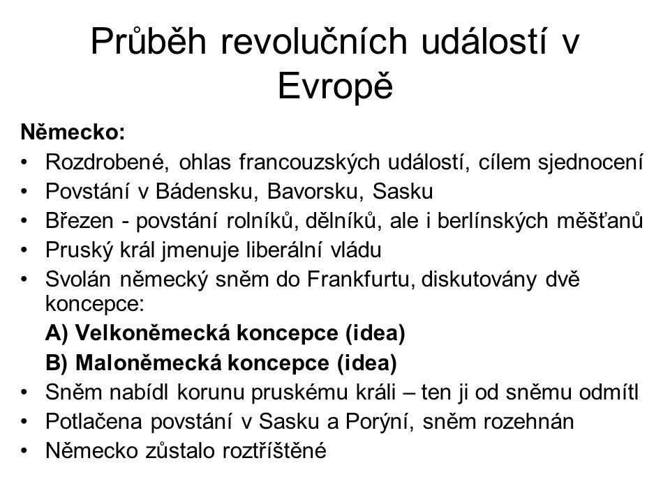 Průběh revolučních událostí v Evropě Německo: •Rozdrobené, ohlas francouzských událostí, cílem sjednocení •Povstání v Bádensku, Bavorsku, Sasku •Březe