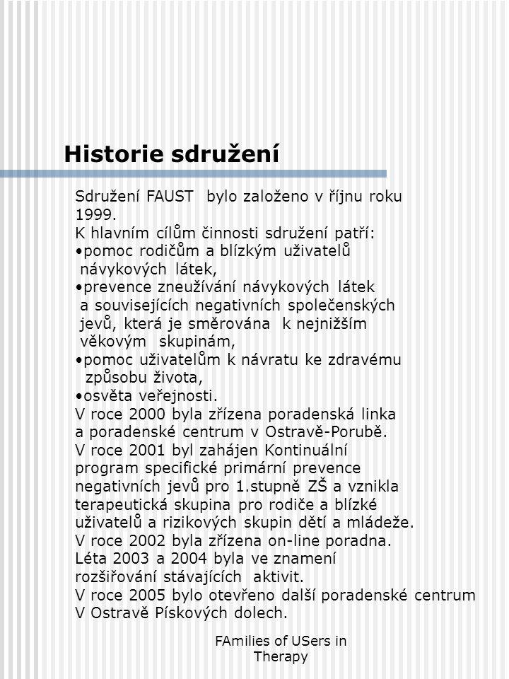 FAmilies of USers in Therapy Historie sdružení Sdružení FAUST bylo založeno v říjnu roku 1999. K hlavním cílům činnosti sdružení patří: •pomoc rodičům
