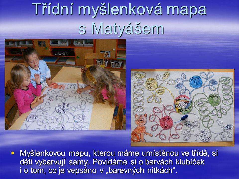 Třídní myšlenková mapa s Matyášem  Myšlenkovou mapu, kterou máme umístěnou ve třídě, si děti vybarvují samy. Povídáme si o barvách klubíček i o tom,